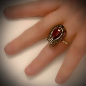 Size 7 Ruby Emerald Fine Art Ring Solid 925/Gold